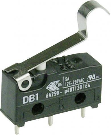 Întrerupător subminiatură DB1 Cherry, DB1C-C1SC, 250 V/AC, manetă cu simulare rolă, medie, conexiune prin conexiuni pentru circuite imprimate 1,3 x 0,5 mm, curent de comutare 6 A