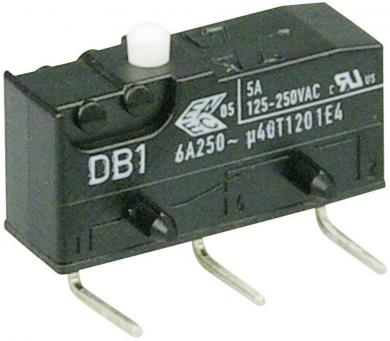Întrerupător subminiatură DB1 Cherry, DB1C-D2AA, 250 V/AC, fără manetă, conexiune prin conexiuni pentru circuite imprimate 1,3 x 0,5 mm dreapta, curent de comutare 6 A