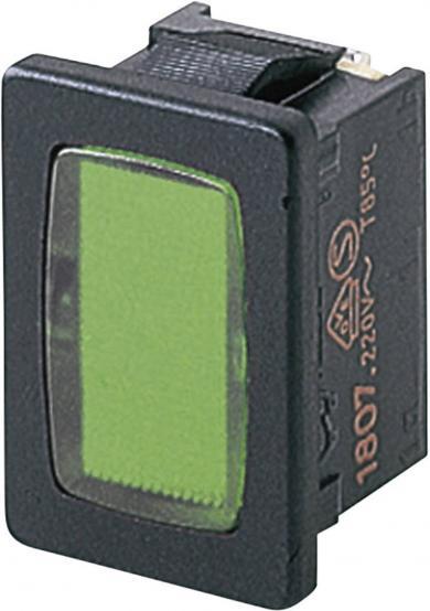 Lampă semnalizare Marquardt tip 1807.1108, verde, 230 V/AC, conexiune prin conector plat 4,8 mm