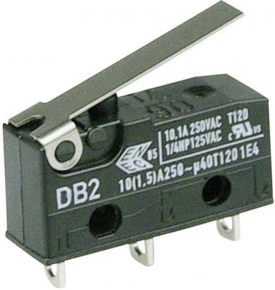 Întrerupător subminiatură DB2 Cherry, tip DB2C-A1LB, 250 V/AC, manetă scurtă, conexiune prin conexiuni pentru lipire