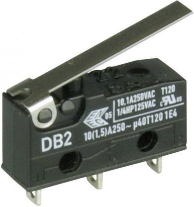 Întrerupător subminiatură DB2 Cherry, tip DB2C-A1LC, 250 V/AC, manetă medie, conexiune prin conexiuni pentru lipire