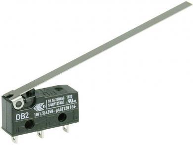Întrerupător subminiatură DB2 Cherry, tip DB2C-A1LD, 250 V/AC, manetă lungă, conexiune prin conexiuni pentru lipire