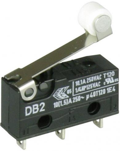 Întrerupător subminiatură DB2 Cherry, tip DB2C-A1RB, 250 V/AC, manetă cu rolă, scurtă, conexiune prin conexiuni pentru lipire