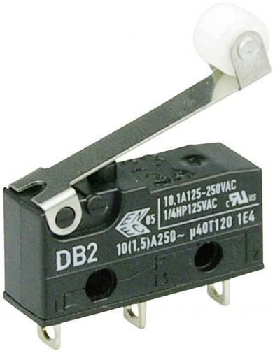 Întrerupător subminiatură DB2 Cherry, tip DB2C-A1RC, 250 V/AC, manetă cu rolă, medie, conexiune prin conexiuni pentru lipire