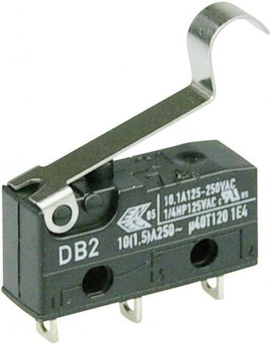 Întrerupător subminiatură DB2 Cherry, tip DB2C-A1SC, 250 V/AC, manetă cu simulare rolă, medie, conexiune prin conexiuni pentru lipire