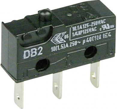 Întrerupător subminiatură DB2 Cherry, tip DB2C-B1AA, 250 V/AC, fără manetă, conexiune prin conector plat, 2,8 x 0,5 mm