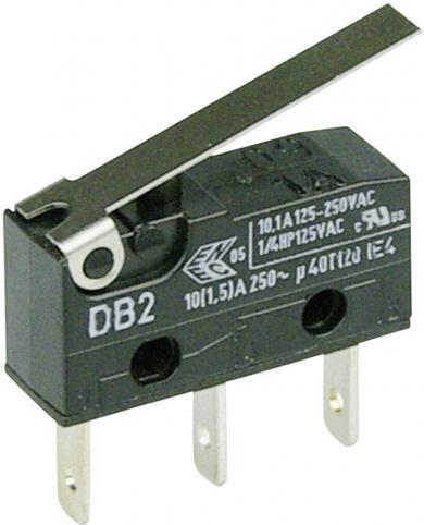 Întrerupător subminiatură DB2 Cherry, tip DB2C-B1LC, 250 V/AC, manetă medie, conexiune prin conector plat, 2,8 x 0,5 mm
