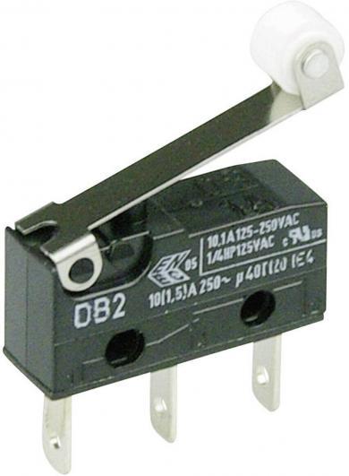 Întrerupător subminiatură DB2 Cherry, tip DB2C-B1RC, 250 V/AC, manetă cu rolă, medie, conexiune prin conector plat, 2,8 x 0,5 mm