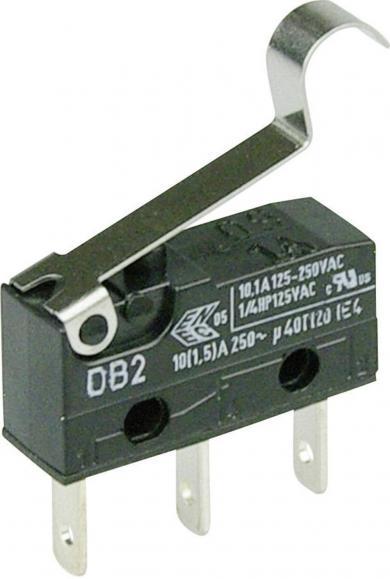Întrerupător subminiatură DB2 Cherry, tip DB2C-B1SC, 250 V/AC, manetă cu simulare rolă, medie, conexiune prin conector plat, 2,8 x 0,5 mm
