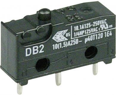 Întrerupător subminiatură DB2 Cherry, tip DB2C-C1AA, 250 V/AC, fără manetă, conexiune prin conexiuni pentru circuite imprimate, 1,3 x 0,5 mm