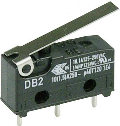 Întrerupător subminiatură DB2 Cherry, tip DB2C-C1LB, 250 V/AC, manetă scurtă, conexiune prin conexiuni pentru circuite imprimate, 1,3 x 0,5 mm
