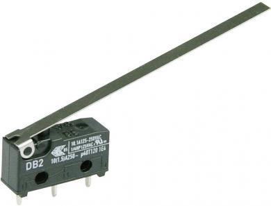 Întrerupător subminiatură DB2 Cherry, tip DB2C-C1LD, 250 V/AC, manetă lungă, conexiune prin conexiuni pentru circuite imprimate, 1,3 x 0,5 mm