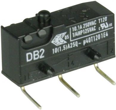 Întrerupător subminiatură DB2 Cherry, tip DB2C-D2AA, 250 V/AC, fără manetă, conexiune prin conexiuni pentru circuite imprimate, 0,6 x 0,5 mm