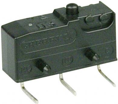 Întrerupător subminiatură DB2 Cherry, tip DB2C-D3AA, 250 V/AC, fără manetă, conexiune prin conexiuni pentru circuite imprimate, 0,6 x 0,5 mm stânga