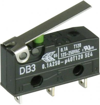Întrerupător subminiatură DB3 Cherry, tip DB3C-A1LB, 250 V/AC, manetă scurtă, conexiune prin conexiuni pentru lipire