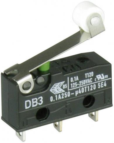 Întrerupător subminiatură DB3 Cherry, tip DB3C-A1RB, 250 V/AC, manetă cu rolă, scurtă, conexiune prin conexiuni pentru lipire