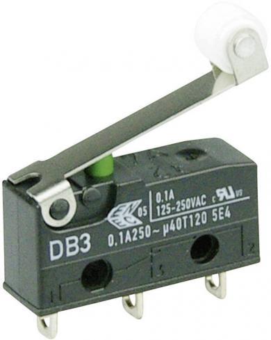 Întrerupător subminiatură DB3 Cherry, tip DB3C-A1RC, 250 V/AC, manetă cu rolă, medie, conexiune prin conexiuni pentru lipire