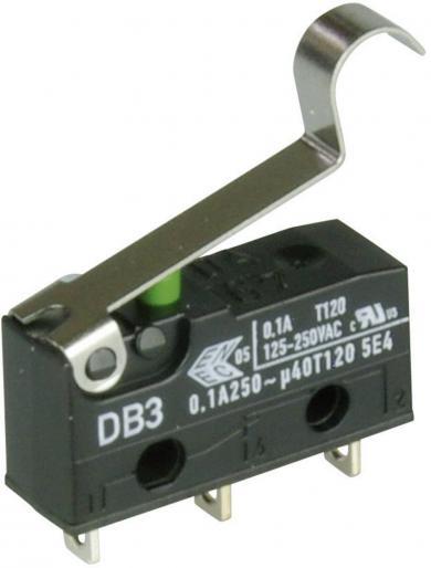 Întrerupător subminiatură DB3 Cherry, tip DB3C-A1SC, 250 V/AC, manetă cu simulare rolă, medie, conexiune prin conexiuni pentru lipire
