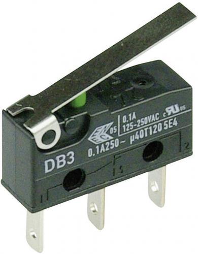 Întrerupător subminiatură DB3 Cherry, tip DB3C-B1LC, 250 V/AC, manetă medie, conexiune prin conector plat, 2,8 x 0,5 mm