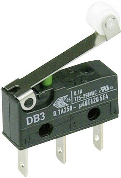 Întrerupător subminiatură DB3 Cherry, tip DB3C-B1RC, 250 V/AC, manetă cu rolă, medie, conexiune prin conector plat, 2,8 x 0,5 mm