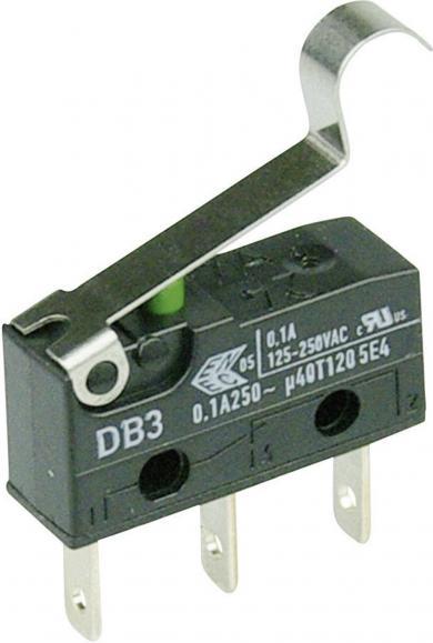 Întrerupător subminiatură DB3 Cherry, tip DB3C-B1SC, 250 V/AC, manetă cu simulare rolă, medie, conexiune prin conector plat, 2,8 x 0,5 mm
