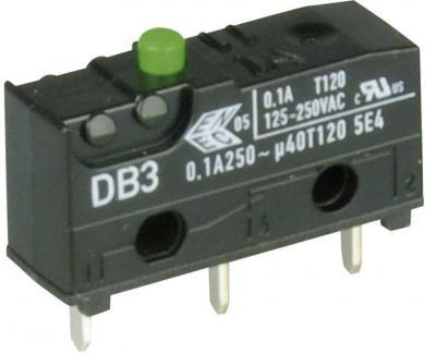 Întrerupător subminiatură DB3 Cherry, tip DB3C-C1AA, 250 V/AC, fără manetă, conexiune prin conexiuni pentru circuite imprimate, 1,3 x 0,5 mm
