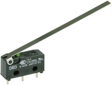Întrerupător subminiatură DB3 Cherry, tip DB3C-C1LD, 250 V/AC, manetă lungă, conexiune prin conexiuni pentru circuite imprimate, 1,3 x 0,5 mm