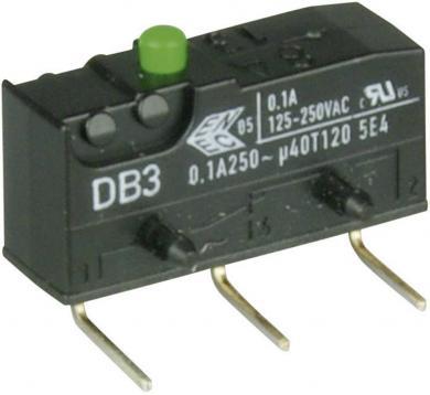 Întrerupător subminiatură DB3 Cherry, tip DB3C-D2AA, 250 V/AC, fără manetă, conexiune prin conexiuni pentru circuite imprimate, 0,6 x 0,5 mm