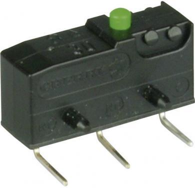 Întrerupător subminiatură DB3 Cherry, tip DB3C-D3AA, 250 V/AC, fără manetă, conexiune prin conexiuni pentru circuite imprimate, 0,6 x 0,5 mm stânga