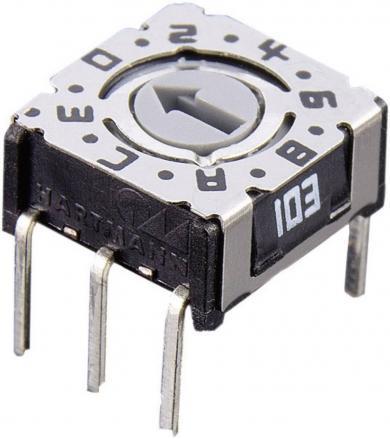 Întrerupător codificare P 36 103, format compact, pini, drepţi, 16 cifre hexazecimal