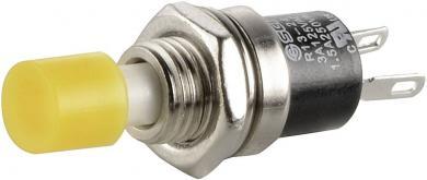 Întrerupător cu buton miniatură 3 A /125 V/AC/1,5 A / 250 V/AC, 1 x OFF/(ON), culoare buton galben, (Î) 5,6 mm