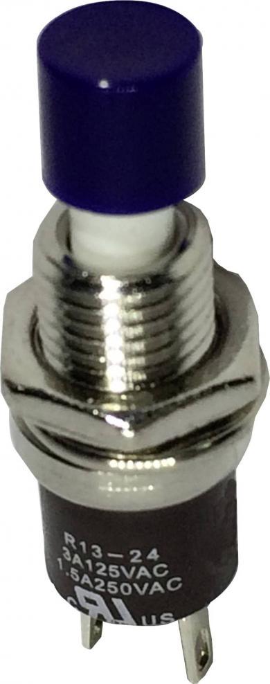Întrerupător cu buton miniatură 3 A /125 V/AC/1,5 A / 250 V/AC, 1 x OFF/(ON), culoare buton albastru, (Î) 5,6 mm