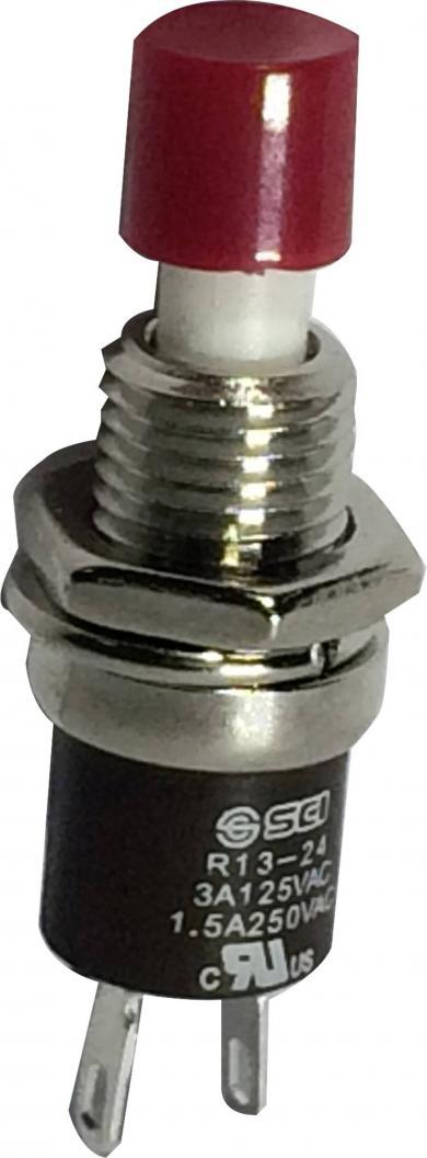 Întrerupător cu buton miniatură 3 A /125 V/AC/1,5 A / 250 V/AC, 1 x ON/(OFF), culoare buton roşu, (Î) 5,6 mm