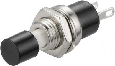 Întrerupător cu buton miniatură 3 A /125 V/AC/1,5 A / 250 V/AC, 1 x OFF/(ON), culoare buton negru, (Î) 5,6 mm