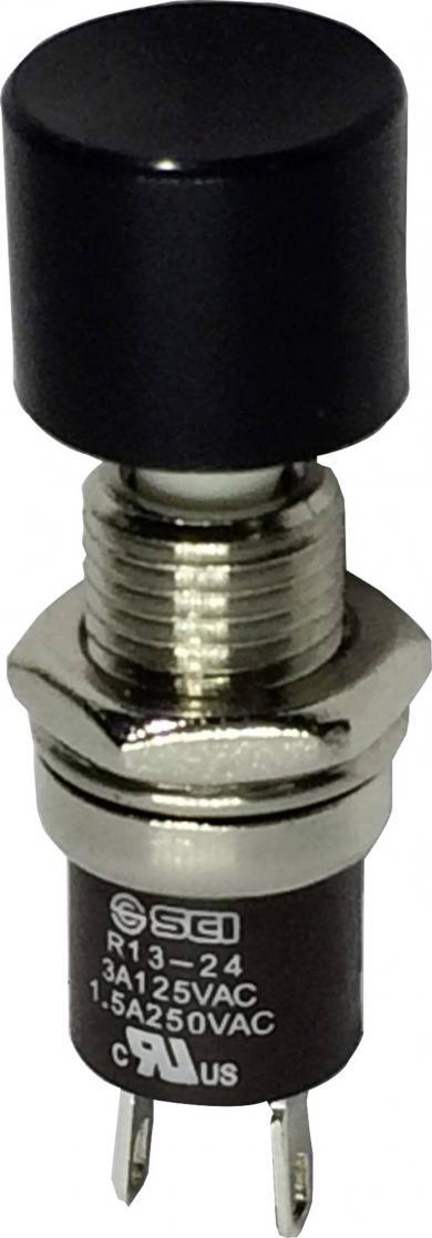 Întrerupător cu buton miniatură 3 A /125 V/AC/1,5 A / 250 V/AC, 1 x ON/(OFF), culoare buton negru, (Î) 8,5 mm