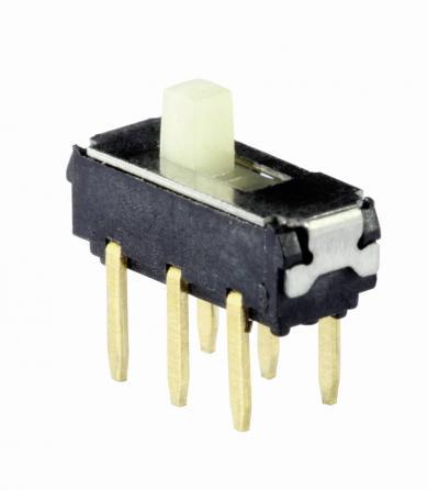Întrerupător glisant micro-miniatură MMP 221B, 201N SW, 2 x ON/ON, 6 V/DC, 200 mA, conexiune prin pini de lipire drepţi