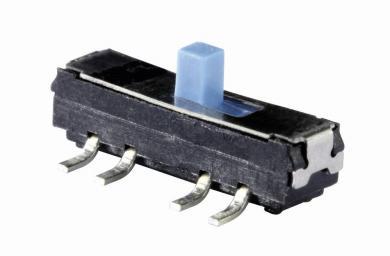 Întrerupător glisant micro-miniatură MMP 228T, 201N SW, 2 x ON/ON, 12 V/DC, 200 mA, conexiune prin pini de lipire în unghi