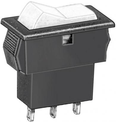 Întrerupător basculant APEM tip Rocker miniatură AS37S0000, 1 x (ON)/OFF/(ON), 20 V/D/ACC, 20 mA