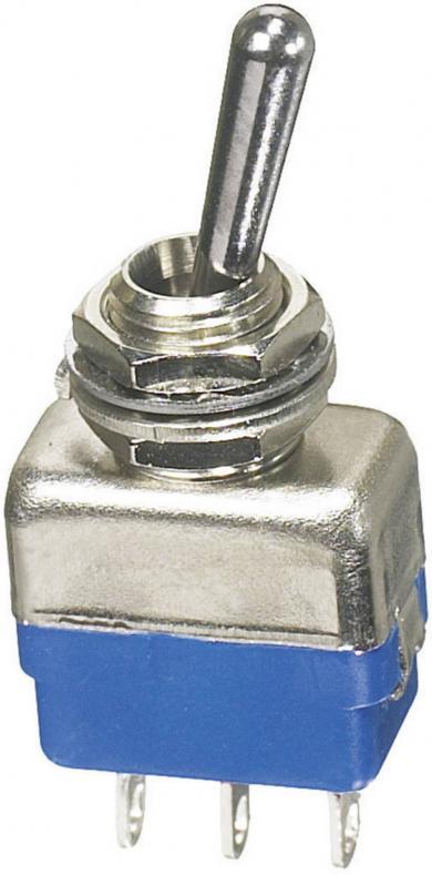 Întrerupător miniatură tip 11139A, 1 x ON/OFF/ON, 2 A