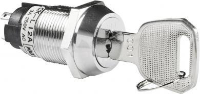 Întrerupător cu cheie CK, 250 V/AC / 3 A, 1 x ON/ON, Ø  montare 19 mm, poziţie extragere cheie: stânga şi dreapta