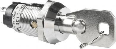 Întrerupător cu cheie CK, 250 V/AC / 3 A, 1 x ON/OFF/ON, Ø  montare 19 mm, poziţie extragere cheie: mijloc