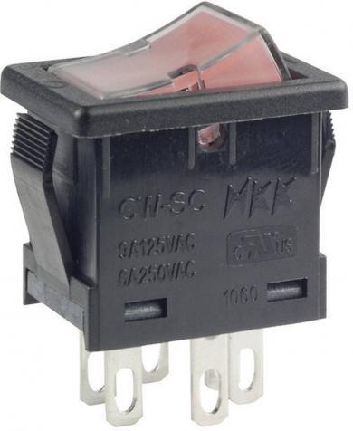 Întrerupător Rocker cu iluminare CWSC21JCACS, 1 x ON/OFF. 250 V/AC, 6 A, roşu