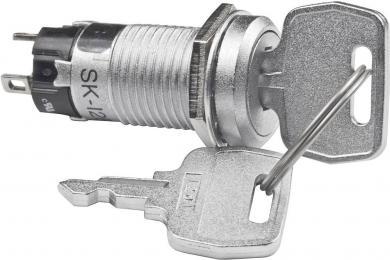 Întrerupător cu cheie SK12, 250 V/AC / 1 A, 1 x ON/OFF/ON, Ø  montare 12 mm, poziţie extragere cheie: stânga, mijloc şi dreapta