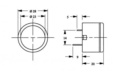 Buzzer miniatură seria AL-28SP, 85 dB, 8 - 15 V/DC, 15 mA, 2800 Hz