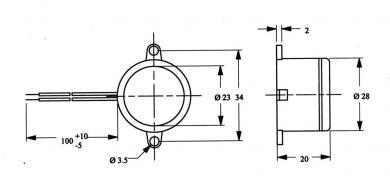 Buzer miniatură tip AL-28SW09-PT, 80 dB, 10 mA, 6-11 V/DC, tip sunet pulsatil