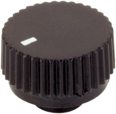 Buton rotativ cu fixare prin apăsare, Ø ax 6 mm, 17/6 mm, negru