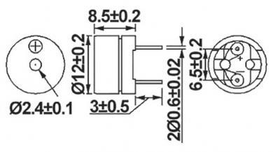Traductor de sunet piezoelectric AL-60P01A, fără generator, 80 dB, 2048 Hz, consum curent < 40 mA, 1 - 2 V/DC