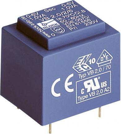 Transformator pentru circuite imprimate EI 30/15,5 VB 2 VA, Block tip VB 2,0/1/12, 12 V, 166 mA