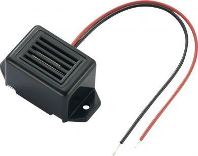 Buzer miniatură tip KPMB-G2303L1-K6348, 75 dB, 25 mA, 2-5 V/DC, decupaj în lungime, culoare negru