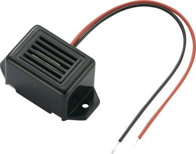 Buzer miniatură tip KPMB-G2309L1-K6410, 75 dB, 30 mA, 6-12 V/DC, decupaj în lungime, culoare negru